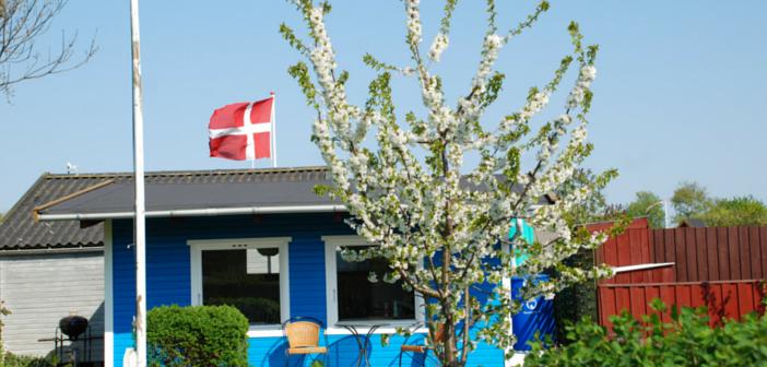 Kolonihavehus med flag